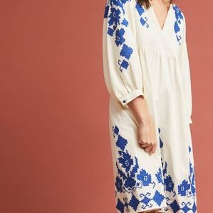 "NWT Anthropologie ""Jora"" Embroidered Peasant Dress"